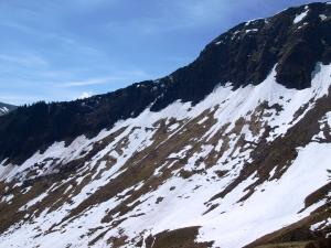 Schneefelder auf der Ostflanke des Zitterklapfen